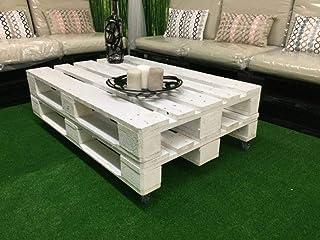 Mesa de Palets Pintada en Color Blanco - Mesitas & Mesas Modernas de Centro & Auxiliares de Madera de Pales - Muebles De P...