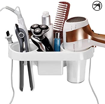 Luckypeople Adhesive Hair Dryer Holder,Wall Mounted No Drilling Plastic Bathroom Hair Blow Dryer Organizer