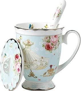 Krysclove Delicate Tea Cup and Lid and Spoon Set Royal Fine Bone China Coffee Mug Print Cup 11oz Ceramic Teacups (Light Blue)