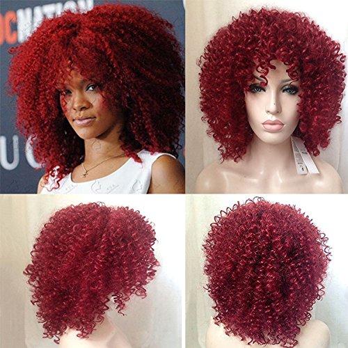 Royalvirgin Hochwertige Rihanna Schnitt Haar Stil Synthetische Red Curly Perücke Afro Kinky Curly Perücken Für Frauen Perruque Cosplay Perücken