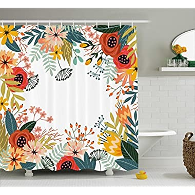 Ambesonne Floral Shower Curtain by, Vintage Exotic Summer Flowers Botanical Natural Framework Colorful Art Illustration, Fabric Bathroom Decor Set with Hooks, 70 Inches, Multicolor