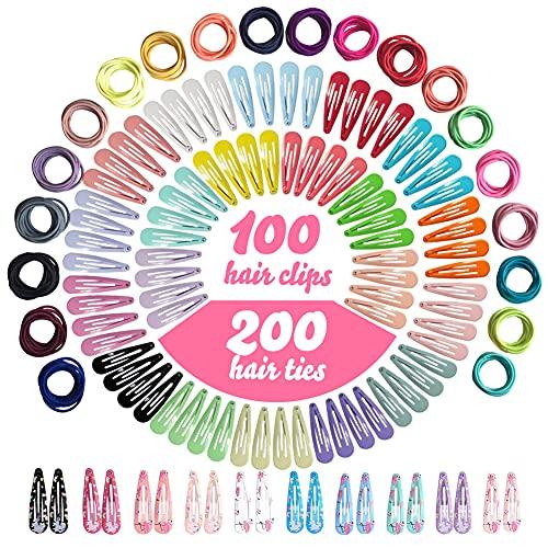 Haarspangen Und Haargummis Für Mädchen Kinder, NOCHME 300 Stk Haarschmuck Set, 100 Mini Snap Clips Haarklammern & 200 Klein Haar Gummis Set Für Kleinkinder Kinder Mädchen Alter 2-3 4 5 6 7 8