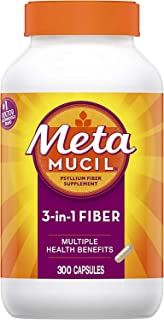 Metamucil, Psyllium Husk Fiber Supplement, 3-in-1 Fiber for Digestive Health, Plant Based, 300 Capsules