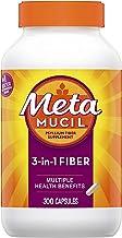 Metamucil Fiber, 300 Capsules, 3-in-1 Psyllium Husk Supplement, Natural Digestive Health