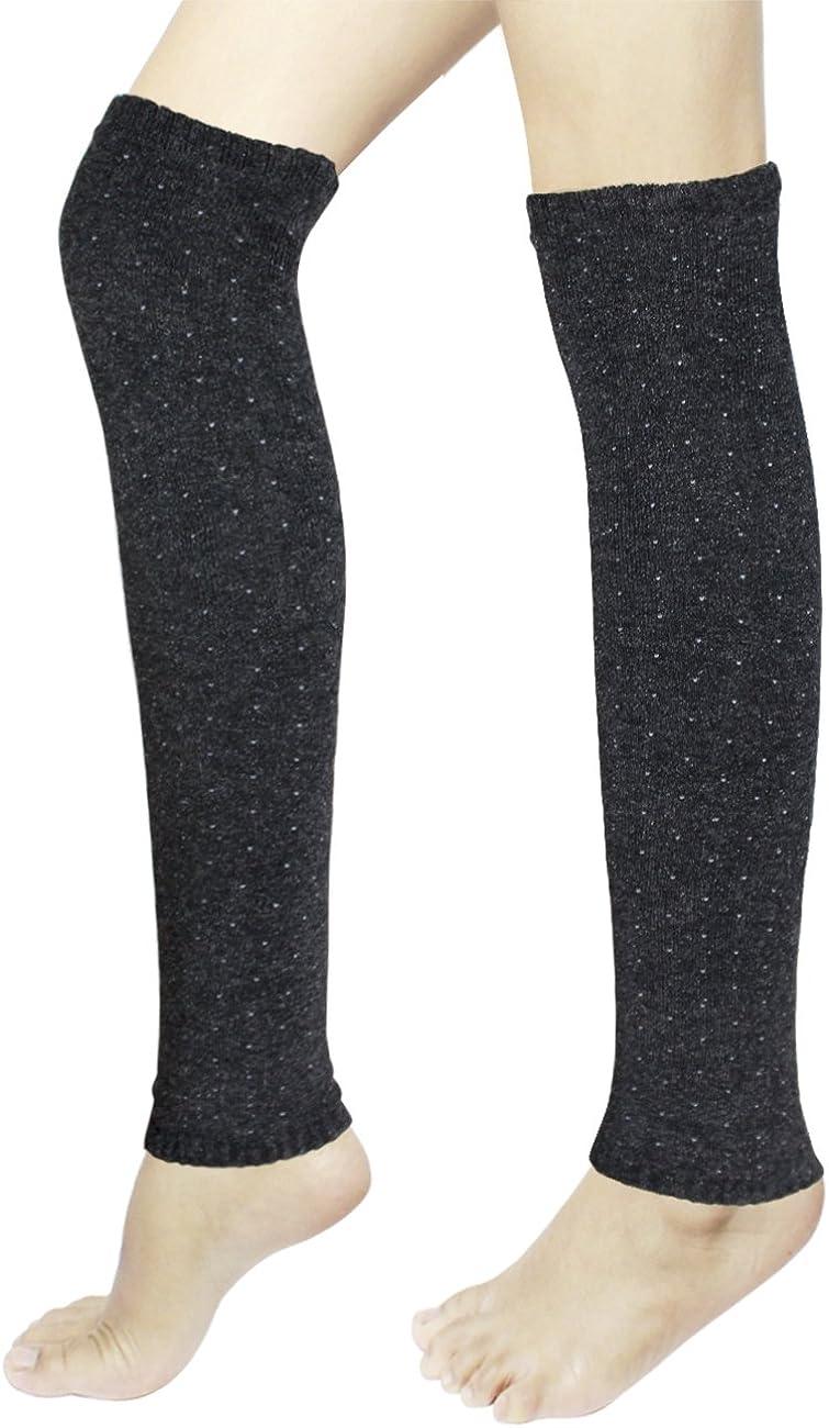Dahlia Women's Leg Warmers, Knee High - Synthetic Wool Pin Dots, Gray