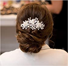 SWEETV Flower Wedding Hair Comb Ivory Pearl Clip,Bridal Hair Piece Women Hair Accessories for Brides