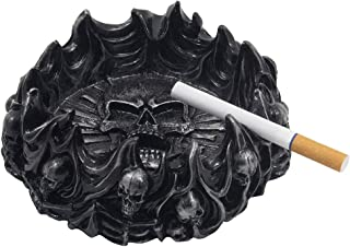 Decorative Skulls and Crossbones in Flames Ashtray for Spooky Skeleton Halloween Decorations or Medieval Art Figurines & Gothic Home Decor As Scary Fantasy Gifts