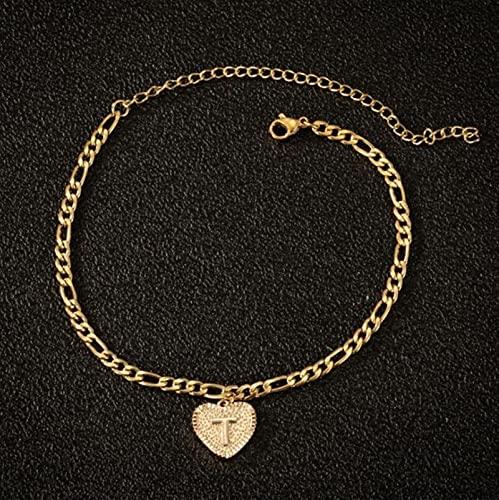 CXWK 26 AZ Tobilleras Iniciales joyería de Mujer Acero Inoxidable corazón pequeño Alfabeto Pierna Cadena Letra Tobillera Pulsera