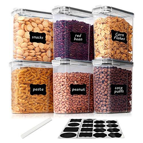 Vtopmart 2.5L Vorratsdosen Set,Müsli Schüttdose & Frischhaltedosen, BPA frei Kunststoff Vorratsdosen luftdicht, Satz mit 6+24 Etiketten für Getreide, Mehl, Zucker usw (Schwarz)