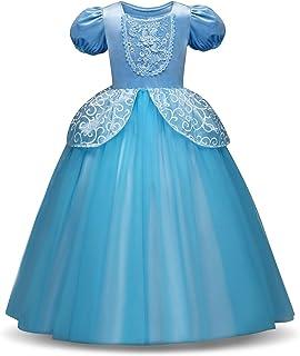 HelloGO 子供用ドレス コスチューム シンデレラ風 コスプレ プリンセスドレス なりきりワンピース お姫様 ハロウィン パーティー 誕生日 クリスマスプレゼントに(110cmブルー)