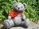 Tiefes Kunsthandwerk Steinfigur Teddy-bär groß Schiefergrau, Deko Figur Garten