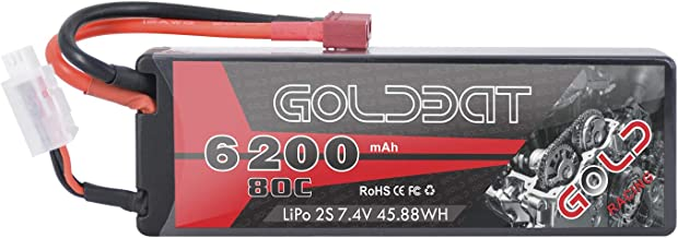 GOLDBAT RC Akku 6200 mAh Lipo Batterie 7,4V 80C 2S mit Female T-Stecker Batterie Ersatzakku für RC Auto Flugzeug Helikopter Boot Buggy LKW usw. (1 Pack)