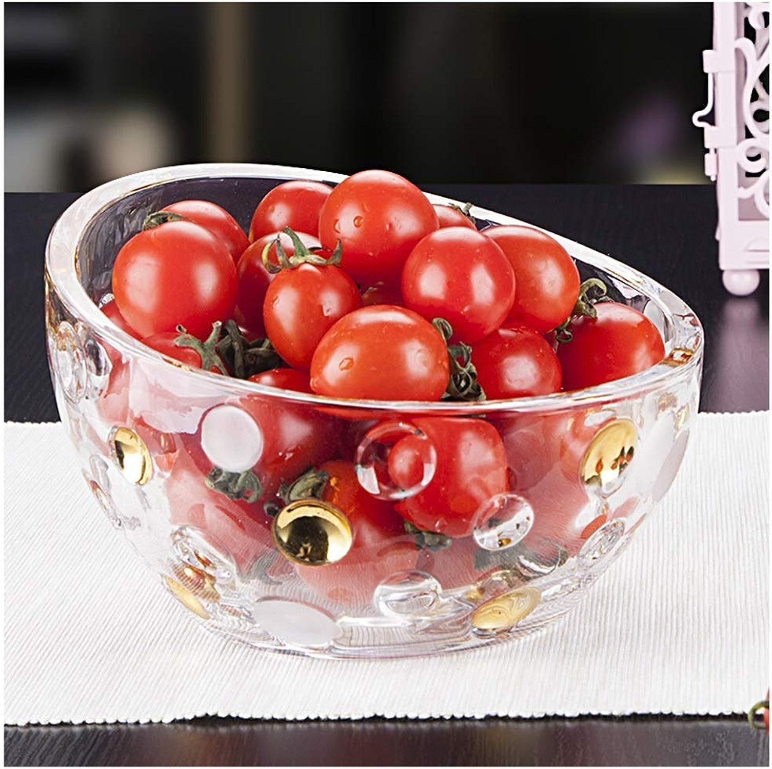 NIUZIMU Bols de fruits créatifs, panier de fruits en verre, présentoir de fruits -326 (Couleur   Clear, Taille   C)