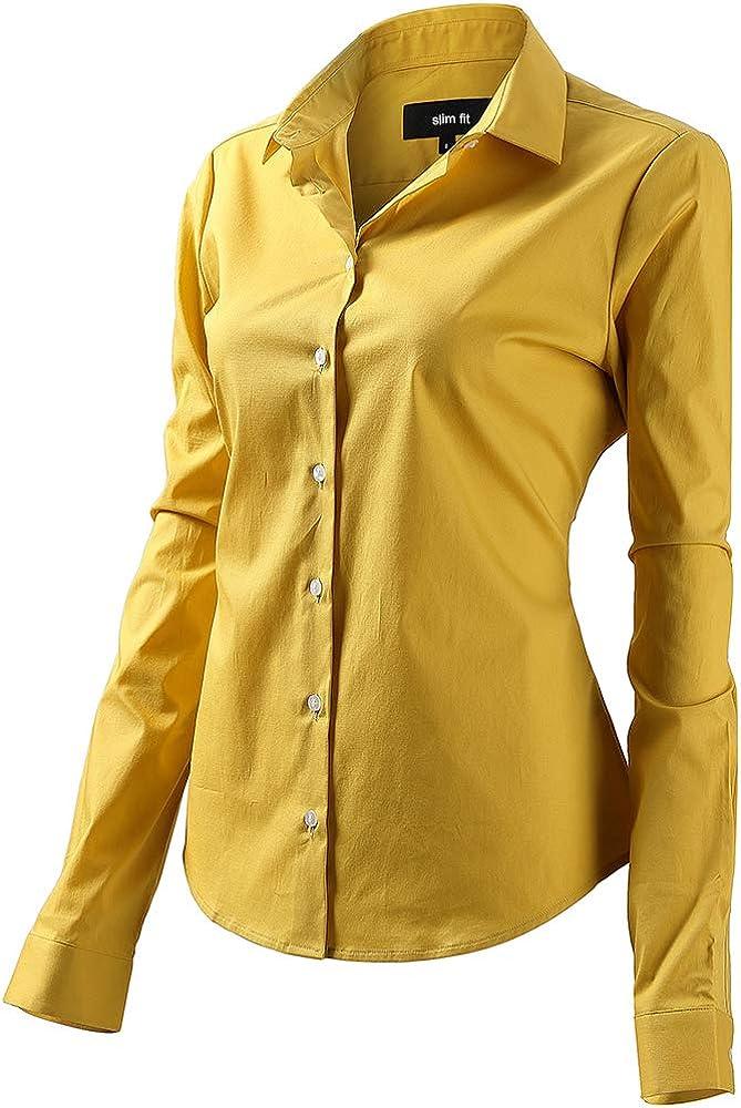 Fly hawk camicia da donna a maniche lunghe 97% cotone 3% poliestere camicetta casual gialla