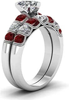 loversring Wedding Ring Sets Bridal Set 2 in 1 White Gold Plated Red Ruby Cubic Zirconia and Crystal Eternity Ring Anniversary Wedding Engagement Ring