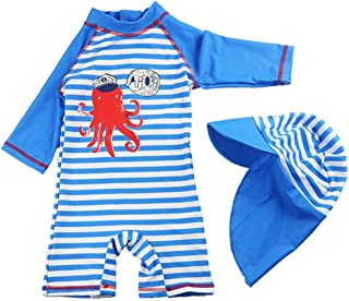 AIWUHE Baby Kids Boys One Piece Blue Stripe Crab Short Sleeve Rash Guard Swimwear Outfit UPF 50+ UV Swimsuit with Sun Hat ...