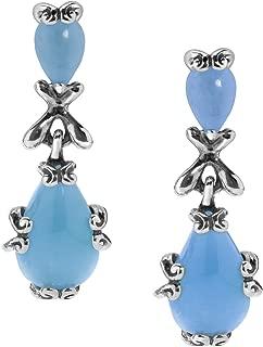 Sterling Silver Blue, Green or Pink Jade Gemstone Pear-Shape Dangle Earrings