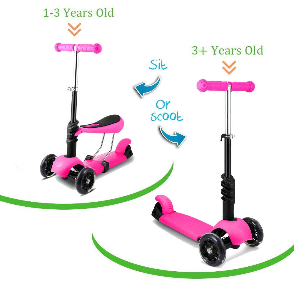 Lean to Steer 4 Adjustable Height Boys Girls Aceshin Mini Cool Kick Scooter for Kids 3 Wheel LED Light-Up