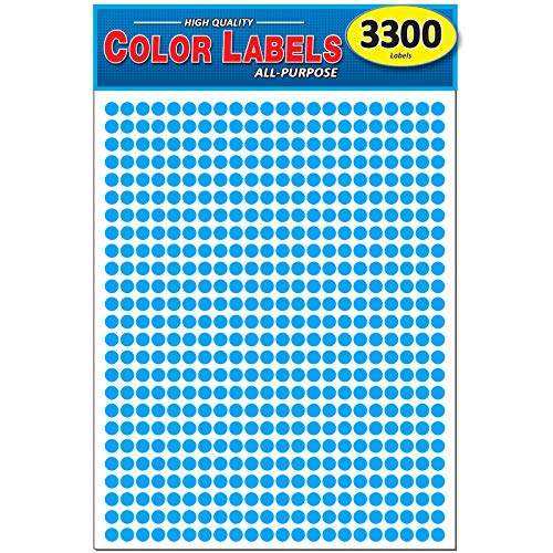 Pack of 3300 1/4 Round Color Coding Circle Dot Labels, Bright Blue, 8 1/2 x 11 Sheet, 0.25 in.