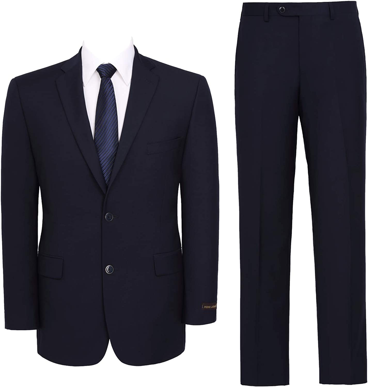 AMY ZHU Men's Slim Fit Suit 2-Piece Business Jacket Wedding Tuxedo Blazer & Flat Front Dress Pants