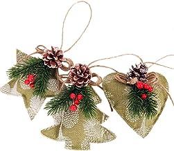 Sanwooden Lovely Christmas Hanging Ornament 3Pcs Christmas Tree Heart Star Pine Cone Pendant Hanging Ornament Festival Dec...