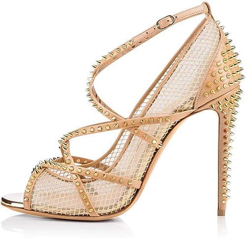 XLY Femmes Crisscrossed Strap Peep Toe Rivets Résille Ankle Strap Strap Sandale Chaussures Robe Escarpins Talons Aiguilles,Flesh,46