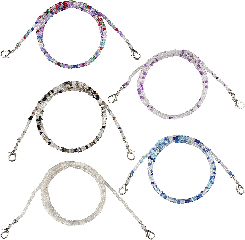 Zeayebsr 5 piezas Cordones para gafas de perlas de colores, Collar con Cuentas Soporte de anteojos con Cuentas Multicolores, Sujeta mascarillas con mosquetones pequeño,Cuelga mascarillas