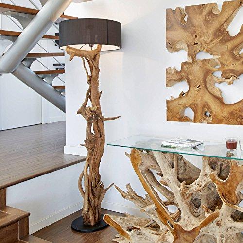 Hochwertige Standlampe BLUMA | Designer Stehlampe aus Teak Holz mit Zertifikat | Wurzelholz Teakholz Lampe Unikat in Handarbeit | Höhe 180 cm | Lampenschirm: Schwarz | Stehlampe Holz für jeden Raum