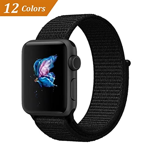 715c25f41646 QIENGO Compatible for Apple Watch Band 38MM 42MM, Nylon Sport Loop with  Hook and Loop