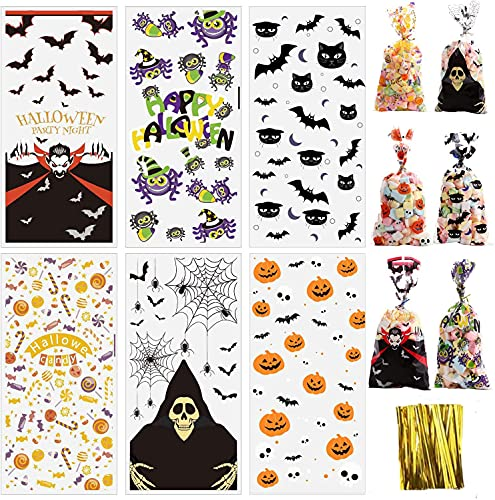U/N HUA Halloween Candy Bags,50Pcs Happy Halloween Trick or Treat Goody Bags Assortment for Kids Halloween Party Supplies (5Designs)