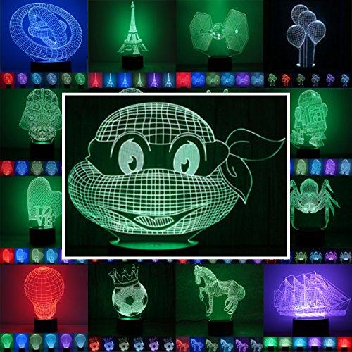 Preisvergleich Produktbild 3D Lampe 3D Leuchte 3D LED Stimmungslicht. 7 Farben - Auswahl aus 81 verschiedenen Motiven, hier Ninja Turtles ca.16x20cm inkl.Sockel - 3D Illusion Dekolicht mit USB Anschluß und 220V USB Netzteil