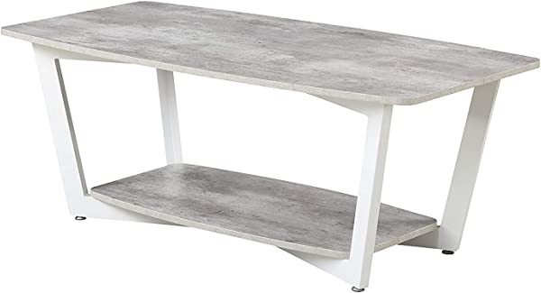 Convenience Concepts 111282GYWF Graystone Stone Coffee Table Gray White
