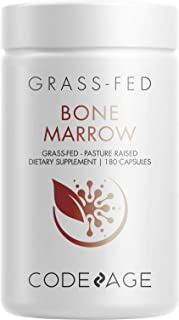 Codeage Grass Fed Bone Marrow Supplement - Freeze Dried, Non-Defatted, & Desiccated Beef Bone Marrow Pills - Raw Whole Bon...