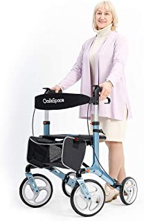 OasisSpace Aluminum Rollator Walker with Seat, Folding Rollator Walker with 10-inch Front Wheels for Senior, Elderly(Blue)