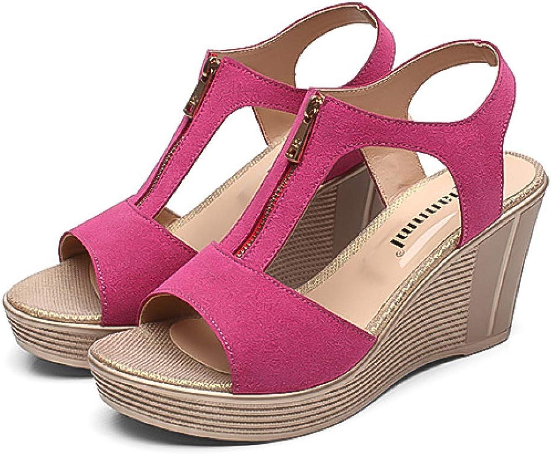 T-JULY Platform Sandals Fashion Women Sandals Summer Wedge Sandals New Open Toe Woman shoes Zip Cow Leather