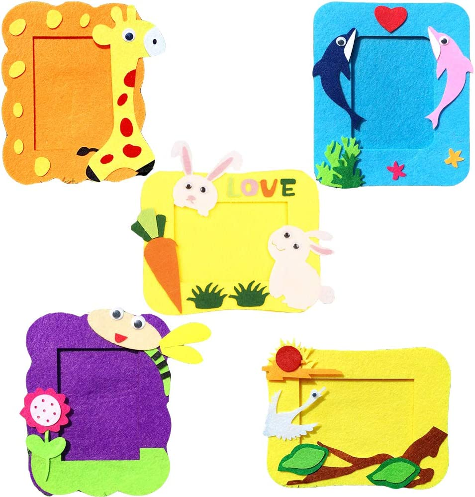 Setaria Viridis 5 PCS Kid/'s DIY Projects Picture Photo Frame DIY Craft Kit Non-Woven Fun Foam Frames with Cotton Stickers for Children Handmade Art Project 5pcs