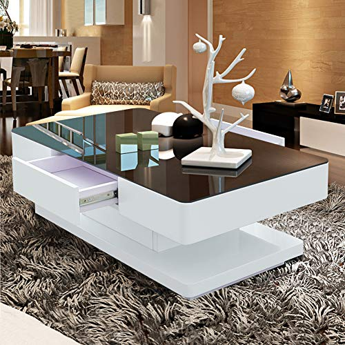 TUKAILAI Living Room High Gloss Glass Coffee Table with Black Tempered Glass and 2 Storage Drawers Large Wooden Rectangular Sofa End Tea Table for Office Waiting Reception Home Furniture