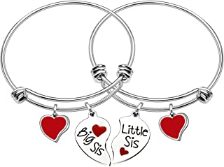 JJIA Sister Gifts, Sister Bangle Bracelets for Big Sister Little Sister Heart Charms Double Pendant Pack of 2 Birthday Gif...