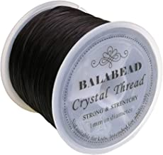 BALABEAD 1mm Strong Elastic Stretch Crystal String Cord for Jewelry Making Bracelet Beading Thread 60m/roll (Black)