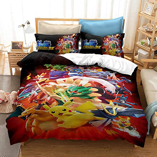 Meiju Duvet Cover Set for Boy Girl Single Double King Bed, 3D Printed Bedding Set Adults Teenager Children Kids Bedroom Microfiber Duvet Set with Pillowcases (Pokémon 4,140x200cm)