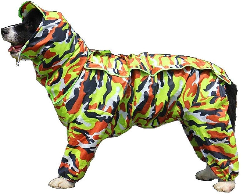 Dog Raincoat,Fourlegged Hooded Pet Jacket Coat Clothes,Green,18