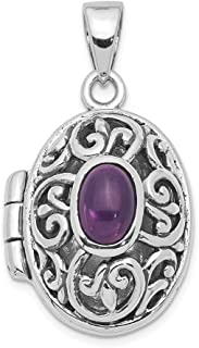 925 Sterling Silver Purple Amethyst Photo Pendant Charm Locket Chain Necklace That Holds Pictures Fine Jewelry Gifts For Women For Her