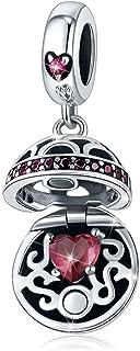 Ciondolo in argento Sterling 925, con confezione regalo per donne e ragazze Rosso