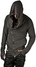 ZUEVI Men's Cool Side Zipper Assassin's Robe Hoodies Cosplay Hooded Sweatshirts