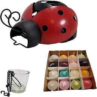 ShoppeShare Ladybug Decorative Votive Holder and Candles Bundle - Retired Partylite Multiple Ways to Display