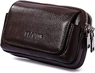 Men's Mini Belt Hanging Purse, Leather Small Waist Bag Multi-Function Large-Capacity Mobile Phone Bag for 4.7-6 Inch Mobile Phone
