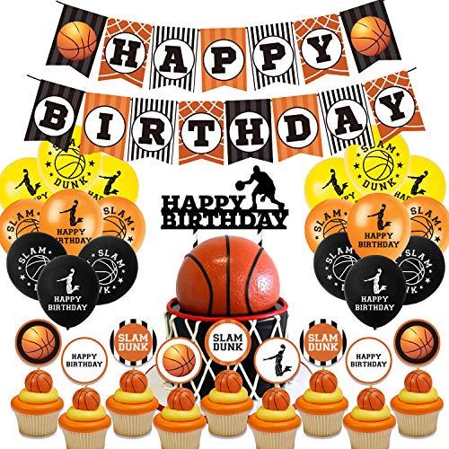Baloncesto Cumpleaños Fiesta Decoracion Temática , Baloncesto Feliz Cumpleaños Pancartas Fiesta Decoraciones Fiestas Suministros Para Baloncesto,Banner de Adornos para Cupcakes Baloncesto
