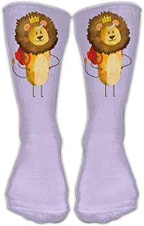 Bigtige, Angry Lion King Unicorn Purple Classics Calcetines personalizados Sport Athletic Medias 50cm Long Sock para hombres Mujeres