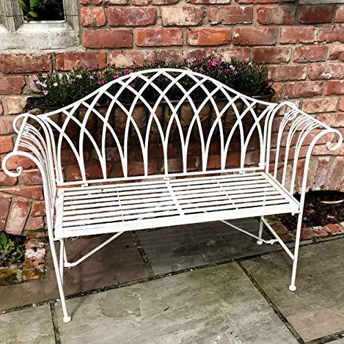 GlamHaus Metal Garden Bench Seat Patio Furniture Foldable Antique Grey Beautiful Shabby Chic Handmade Vintage (Metal Verona)