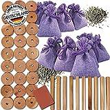 Teneola Lavendel contra polillas y madera de cedro, protección contra polillas en set de saquitos de lavanda probada de la Provenza y cedro americano, ideal para armarios de 56 piezas